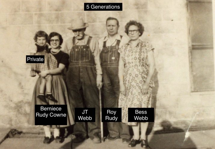 Cousin as child, Aunt Berniece Rudy Cowne, 2nd Great Grandfather JT Webb, Grandfather Roy Rudy, 2nd Great Aunt Bess