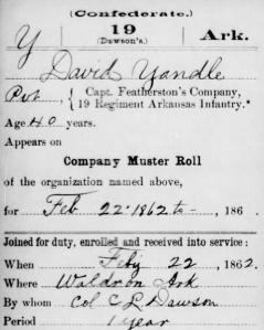 David Lunsford Yandle (Yandell) - 22 Feb 1862